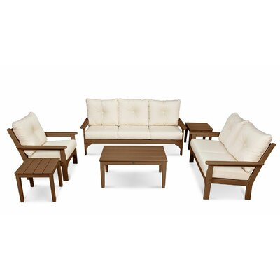 Vineyard 6 Piece Deep Seating Group with Cushion Frame Finish: White, Fabric: Navy