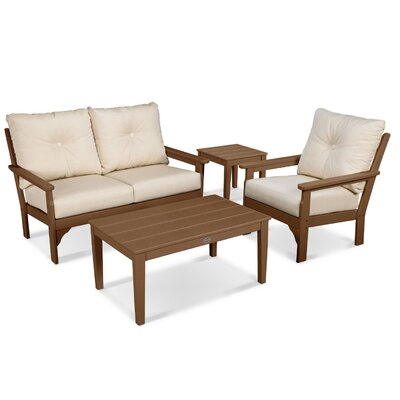Vineyard 4 Piece Deep Seating Group with Cushion Frame Finish: Teak, Fabric: Antique Beige
