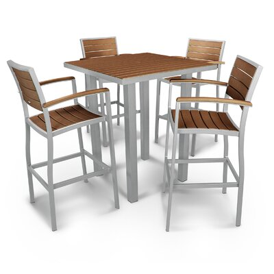 Euro 5 Piece Bar Set Finish: Textured Silver, Fabric: Teak