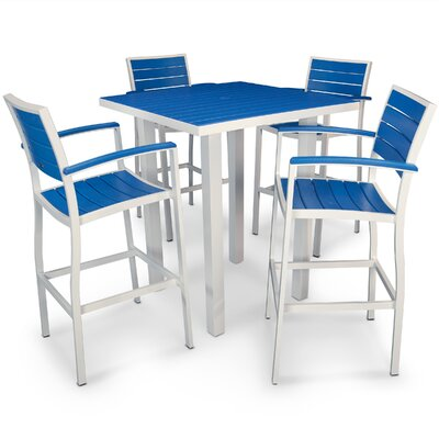 Euro 5 Piece Bar Set Finish: Satin White, Fabric: Pacific Blue