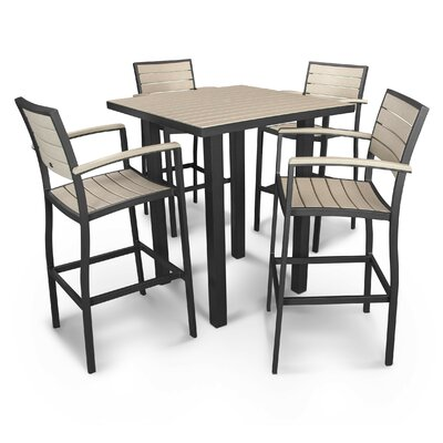 Euro 5 Piece Bar Set Finish: Textured Black, Fabric: Sand