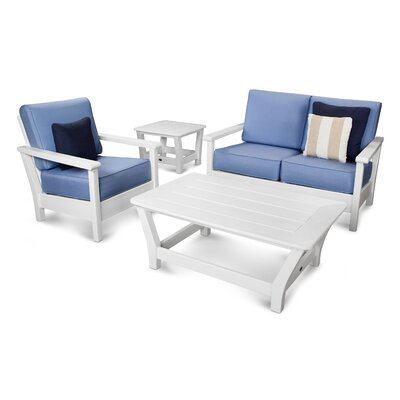 Harbour Deep Seating Loveseat with Cushion Finish: White, Fabric: Air Blue