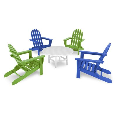 Classic Folding Conversation Adirondack 5-Piece Seating Group Finish: Pacific Blue / Lime