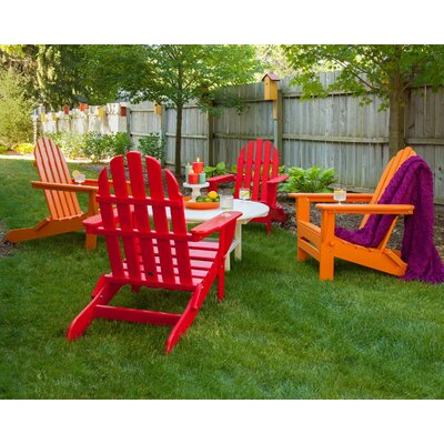 Classic Folding Conversation Adirondack 5-Piece Seating Group Finish: Sunset Red / Tangerine