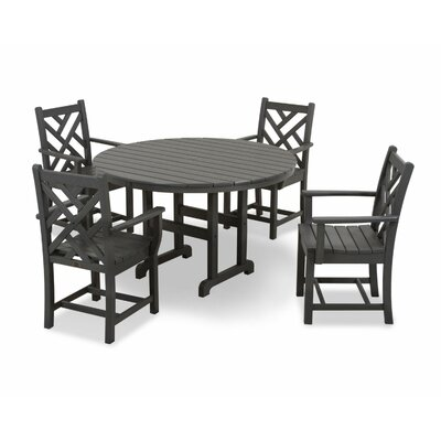 Chippendale 5 Piece Dining Set Finish: Slate Grey