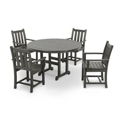 Traditional 5 Piece Dining Set Finish: Slate Grey