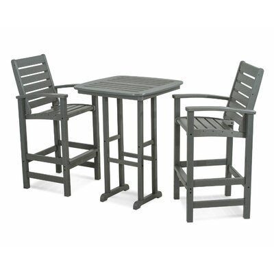 Signature 3 Piece Bar Height Dining Set Finish: Slate Grey