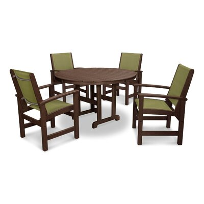 Coastal 5 Piece Dining Set Finish: Mahogany, Fabric: Kiwi
