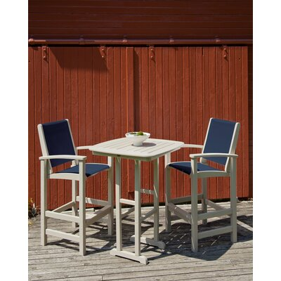 Coastal 3 Piece Bar Set Finish: Sand, Fabric: Navy Blue