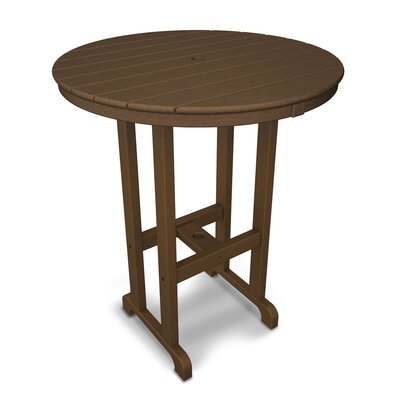Round Outdoor Bar Table Finish: Dark Teak, Table Size: 36""