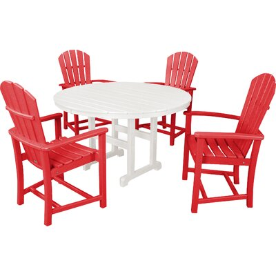 Palm Coast 5 Piece Dining Set Color: Sunset Red and White