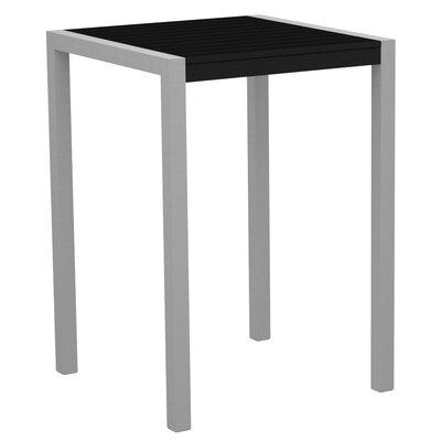 Mod Bar Table Base Finish: Textured Silver, Top Finish: Black