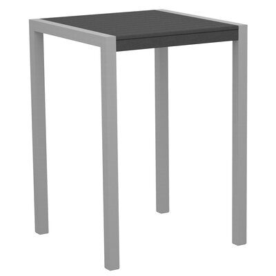 Mod Bar Table Base Finish: Textured Silver, Top Finish: Slate Grey