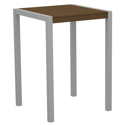 Mod Bar Table Base Finish: Textured Silver, Top Finish: Teak
