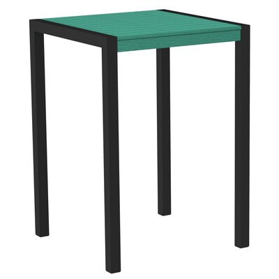 Mod Bar Table Base Finish: Textured Black, Top Finish: Aruba