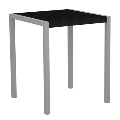 Mod Bar Table Base Finish: Textured Silver, Top Finish: Black