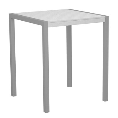 Mod Bar Table Base Finish: Textured Silver, Top Finish: White