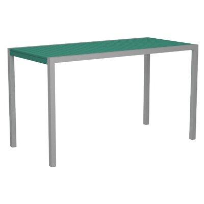 Mod Bar Table Base Finish: Textured Silver, Top Finish: Aruba
