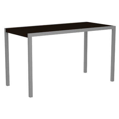 Mod Bar Table Base Finish: Textured Silver, Top Finish: Mahogany