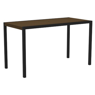 Mod Bar Table Base Finish: Textured Black, Top Finish: Teak