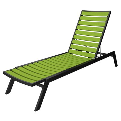Euro Chaise Finish: Textured Black, Seat and Back Finish: Lime