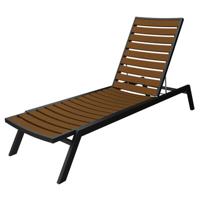 Euro Chaise Finish: Textured Black, Seat and Back Finish: Teak