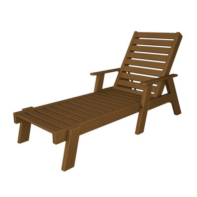 Polywood Captain Chaise Lounge with Arms - Finish: Dark Teak