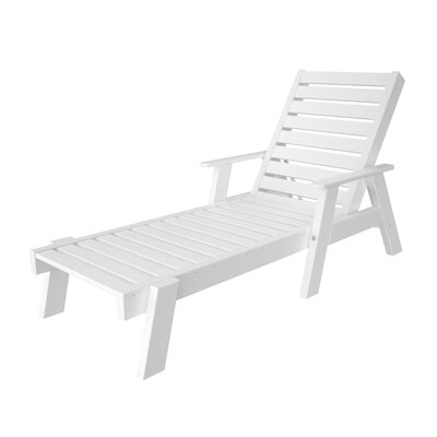 Polywood Captain Chaise Lounge with Arms - Finish: White