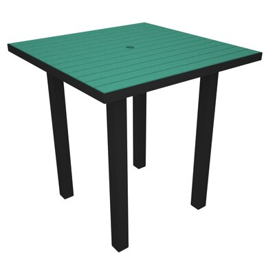 Euro Side Table Base Finish: Textured Black, Top Finish: Aruba