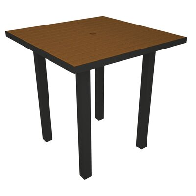 Euro Side Table Base Finish: Textured Black, Top Finish: Teak