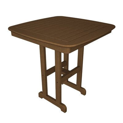 Nautical Square Counter Bar Table Finish: Teak, Table Top Size: 37