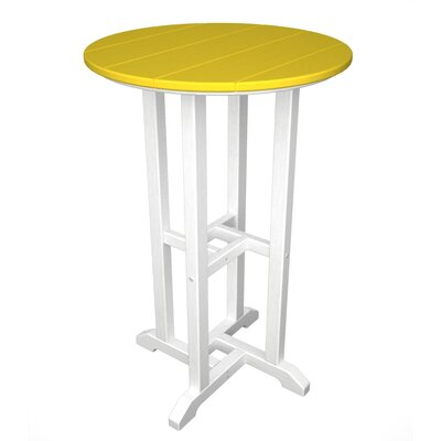 Polywood Contempo Round Counter Bar Table - Finish: White & Lemon
