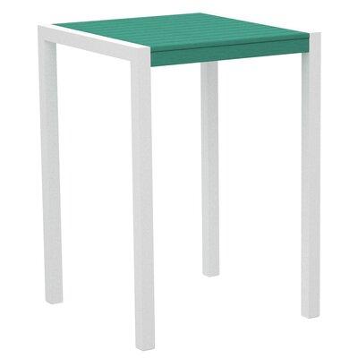 Mod Bar Table Base Finish: Textured White, Top Finish: Aruba