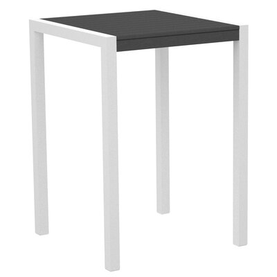 Mod Bar Table Base Finish: Textured White, Top Finish: Slate Grey