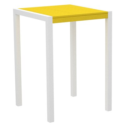 Mod Bar Table Base Finish: Textured White, Top Finish: Lemon