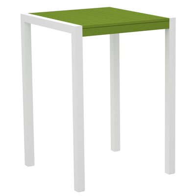 Mod Bar Table Base Finish: Textured White, Top Finish: Lime