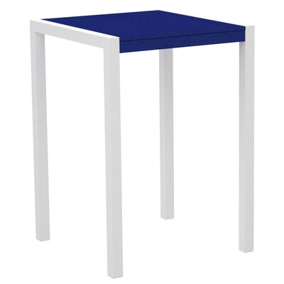 Mod Bar Table Base Finish: Textured White, Top Finish: Pacific Blue