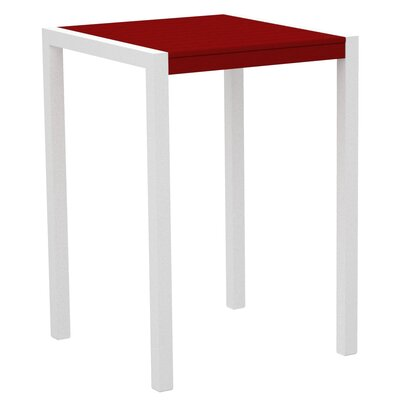 Mod Bar Table Top Finish: Sunset Red, Base Finish: Textured White