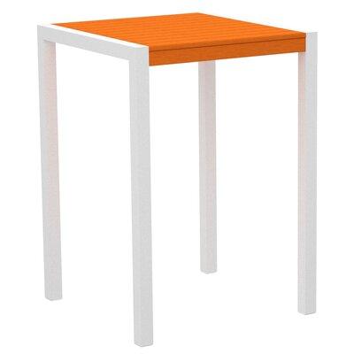 Mod Bar Table Base Finish: Textured White, Top Finish: Tangerine