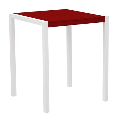 Mod Bar Table Base Finish: Textured White, Top Finish: Sunset Red