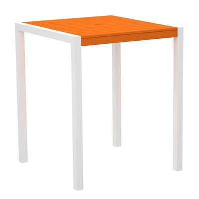 Mod Bar Table Base Finish: Textured White, Top Finish: Tangerine