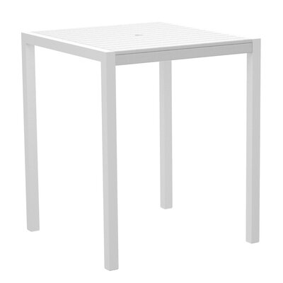 Mod Bar Table Base Finish: Textured White, Top Finish: White