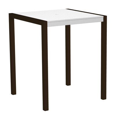 Mod Bar Table Base Finish: Textured Bronze, Top Finish: White