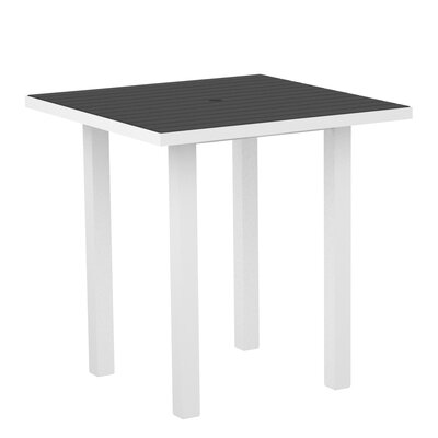 Euro Side Table Top Finish: Slate Grey, Base Finish: Textured White