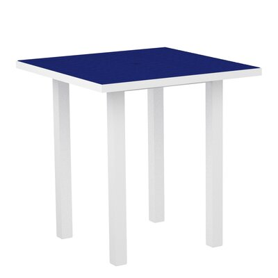 Euro Side Table Base Finish: Textured White, Top Finish: Pacific Blue