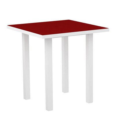Euro Side Table Base Finish: Textured White, Top Finish: Sunset Red