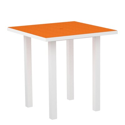 Euro Side Table Top Finish: Tangerine, Base Finish: Textured White Aluminum Frame / Tangerine