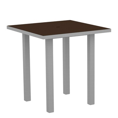Euro Side Table Base Finish: Textured Silver, Top Finish: Mahogany