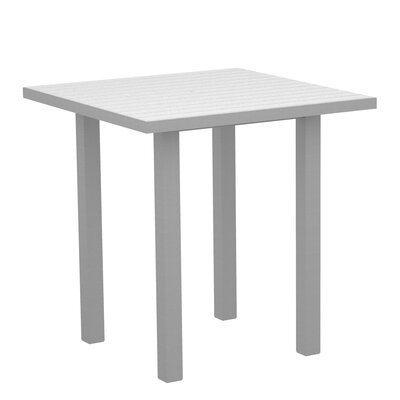 Euro Side Table Base Finish: Textured Silver, Top Finish: White