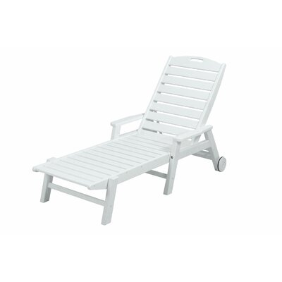 Polywood Nautical Wheel Chaise Lounge with Arms - Finish: White